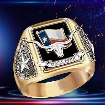 Hip Hop Two-tone 925  Silver 18K Gold  Mens Viking Bull Stainless Steel Ring Cxz