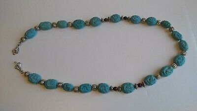 Rare Chinese Dragon Necklace Hand Carved Turquoise, with Silver & Amber Beads
