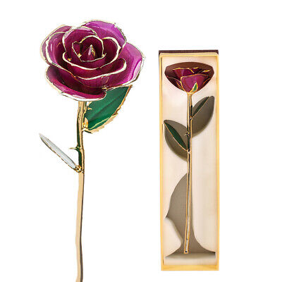 24K Gold Plated Red Rose Flower Birthday Romantic Forever Love Valentine's Day