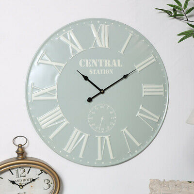 French Grey & Cream Wall Clock vintage antique large home decor green sage
