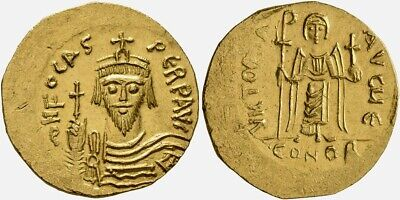Byzantine Gold Solidus of emperor Phocas (602-610). Rare and lovely coin!
