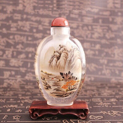 Inner Painting Snuff Bottle Chinese Antique Majesty Mountains and Lovely River