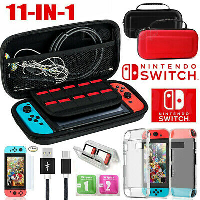 For Nintendo Switch Carry Case Hard Bag+Cover+Charge Cable+Protector Accessories