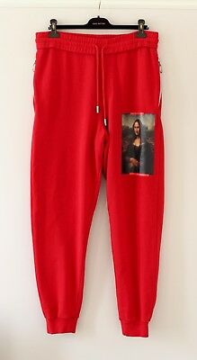 OFF WHITE Main Label Mona Lisa Virgil Abloh red cotton track sweat pants LARGE