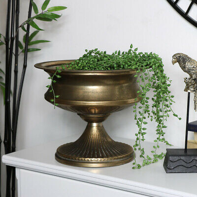 Large vintage pewter urn style plant holder candle storage home decor accessory