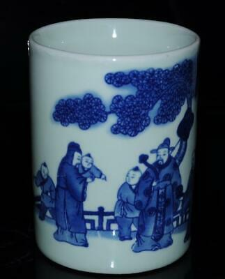 Old chinese blue and white porcelain hand painted ancients brush pot /Db02J