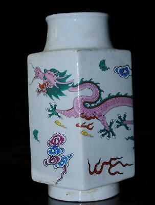 China old HongDe Mark Pastel porcelain hand-made dragon vase/Db02J
