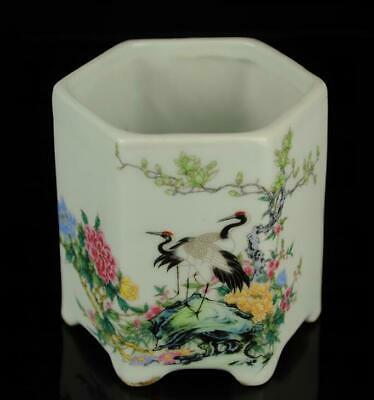 Old china famille-rose porcelain hand-made peony crane antique brush pot /Db01J