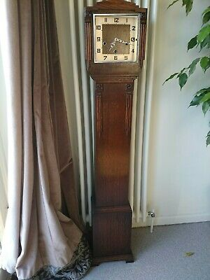 Fine Art Deco Enfield English Westminster Chime Longcase Grandmother Clock