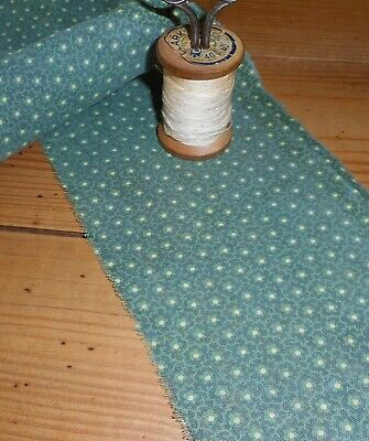 Antique Green Floral Calico Cotton Fabric ~ Long Strip ~ Quilts Patchwork Dolls