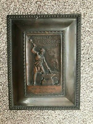 Sheffield photographic society antique photography presentation bronze plaque.
