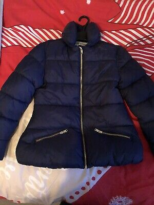 Girls M&S Navy Padded Coat Imaculate Age 9/10
