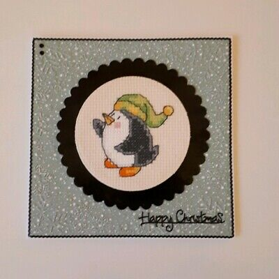 Completed Christmas Cross Stitch Card - Penguin wearing stripey hat