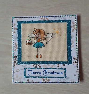Completed Cross Stitch Christmas Card - Fairy holding a Christmas Pudding