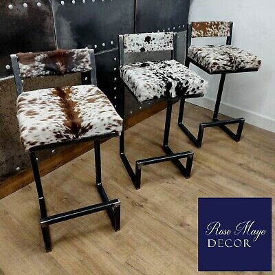 BESPOKE - Cowhide topped Steel bar stools - WITH BACKS - handmade in the UK