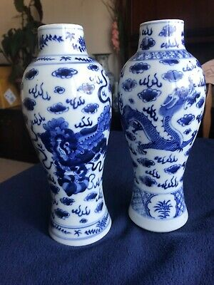 Pair of Chinese blues and white vase
