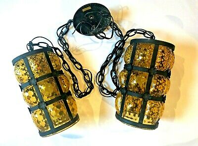 Bubble Glass Amber Swag Lights Mid Century Pendent Caged Dual Chain Works Vtg