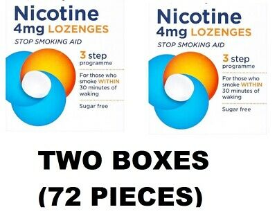 Two Packs of Nicotine Lozenges 4mg 72 pieces - 3 Step Programme (BBE 30.11.2019)