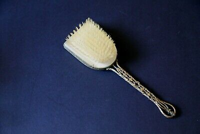 Antique Vintage Ornate Victorian Brass Vanity Hair Brush with Mirror