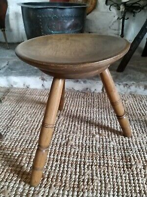 A Super Welsh Sycamore And Ash Cheese Top Stool 19th Century