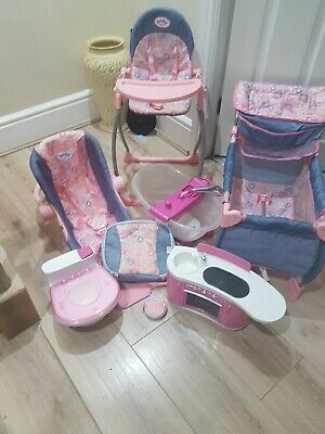 Baby Born interactive travel cot high chair, carseat carrier bath toilet kitchen