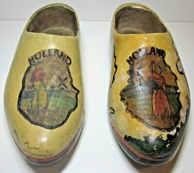 Holland Dutch Old Klompen Clogs Well Used. Approx Size 8 Men.Unisex Hand-painted