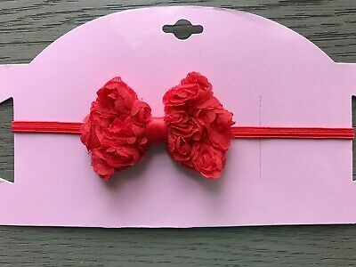 The Lila RED Tiny Rosettes Bow Skinny Elastic Boutique Baby Girls Headband