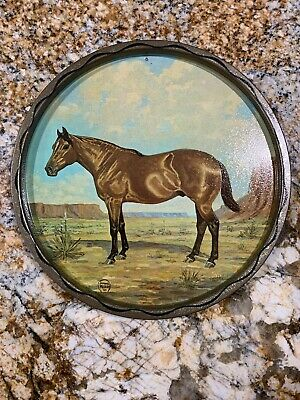 """VINTAGE Morgan Horse 11"""" Wide Jeanne Mellin 1966 Round Metal Tray Plate"""