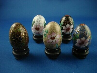 Chinese Four Cloisonne Miniature Eggs and Stands