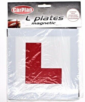 2 x Fully Magnetic Exterior Car Plan Learner Driver L Plates - Secure & Safe New