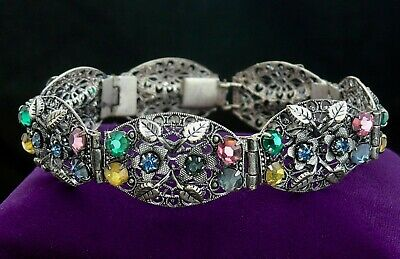 Vintage Art Deco Czech Stone Set Filigree Sectioned Floral Bracelet Neiger