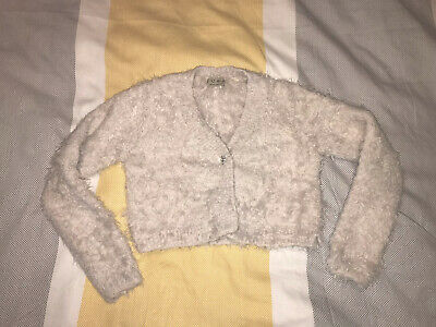 Girls Next Pink Fluffy Furry Cardigan Cropped Dressy Party Age 6 Years