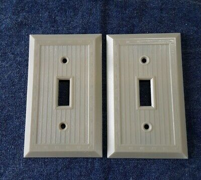 2 General Electric Switchplate Covers Ribbed w/ Dashed Lines Ivory Bakelite