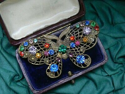 Vintage Art Deco Czech Multicolour Stone Filigree Butterfly Brooch Pin Neiger