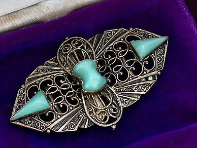 Vintage Art Deco Czech Jade Satin Uranium Glass Stone Filigree Buckle Neiger 30