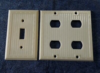 Bryant Hemco Switchplate & 4 Outlet Cover Ribbed w Dashed Lines Ivory Bakelite