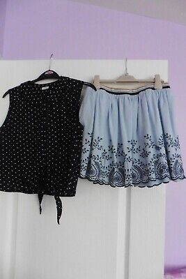 Next Girls Blue Skirt and Top Set, Age 11