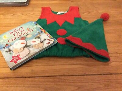 Baby's First Christmas bundle. Elf outfit and Usbourne Book with CD