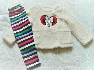 Bnwt Gap 2 Years Jumbo Fleece Top Minnie Detail & Striped Stretch Leggings