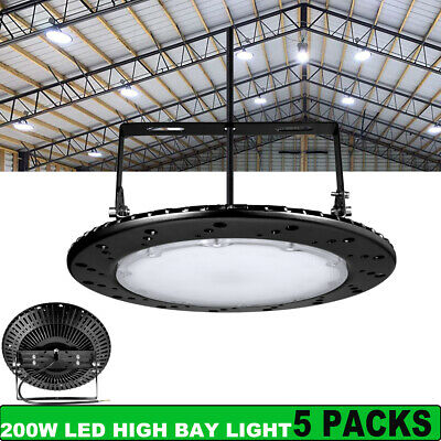 5X 200W LED High Bay Light UFO Low Bay Industrial Warehouse Lights Cool White