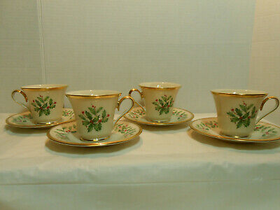 4 Lenox Dimension Holiday Holly Footed Cup & Saucer Sets 24K Gold Trim USA MINT!