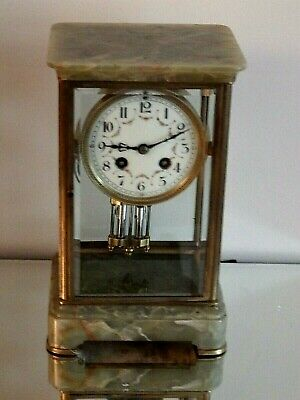 Antique French Onyx  MERCURY Pendulum MANTEL CLOCK V.G.C.. FOR A NHS NURSES FUND