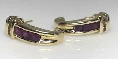vintage 14K Yellow Gold square Cut Ruby and Diamond Channel Set pierced Earrings