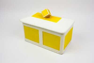 Max Roesler Rodach Ceramic Lidded Box Yellow & White Art Deco