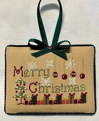 "Completed Cross Stitch Christmas ""Merry Christmas"" Ornament / Wall Hangornament"