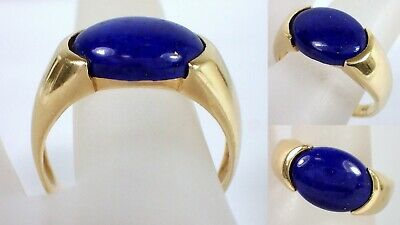 Antique Vtg Chinese 4.6g SOLID 14k Yellow Gold Natural LAPIS LAZULI Ring Sz 10