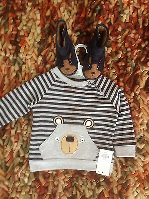 Baby Boy Bundle Sweatshirt And Pumpkin Patch Slippers