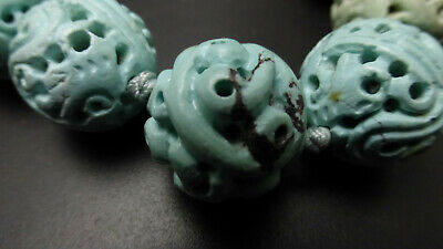 Antique Hand Carved Turquoise Longevity Shou Dragon Bead Necklace