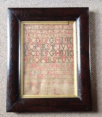 Georgian Early 19th Century Needlework Sampler In Crackle Rosewood Frame
