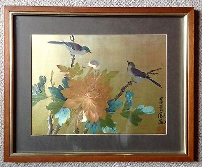 Chinese Signed Silk Picture, Courtship, Hand Painted In Vibrant Metallic Colours